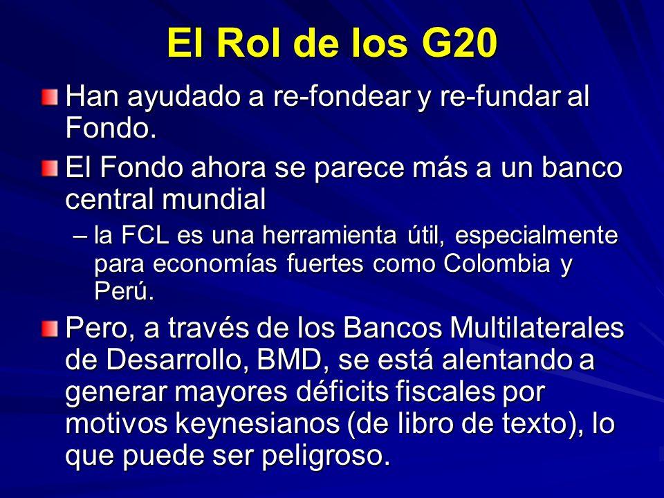 El Rol de los G20 Han ayudado a re-fondear y re-fundar al Fondo. El Fondo ahora se parece más a un banco central mundial –la FCL es una herramienta út