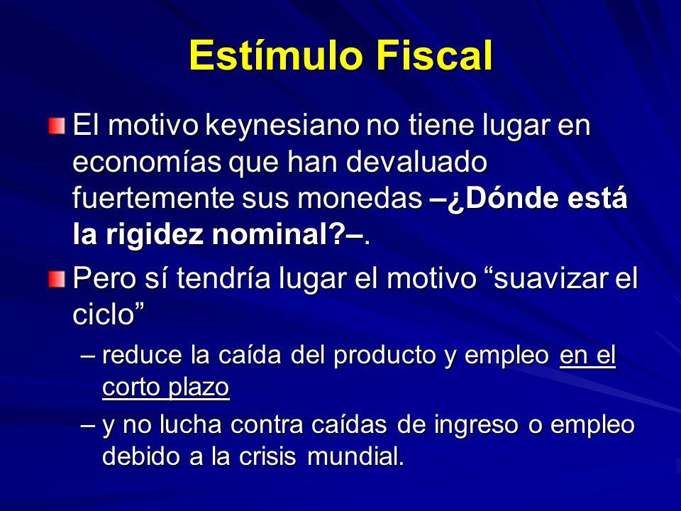 Estímulo Fiscal El motivo keynesiano no tiene lugar en economías que han devaluado fuertemente sus monedas –¿Dónde está la rigidez nominal?–. Pero sí