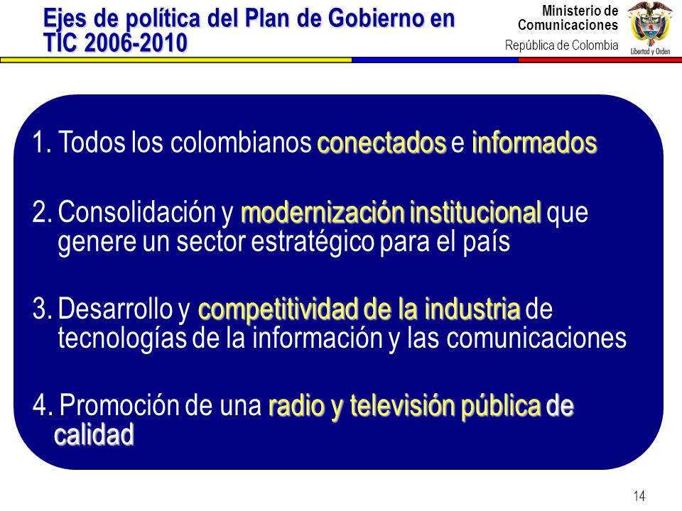 Ministerio de Comunicaciones República de Colombia 14 Ejes de política del Plan de Gobierno en TIC 2006-2010 conectadosinformados 1.Todos los colombia