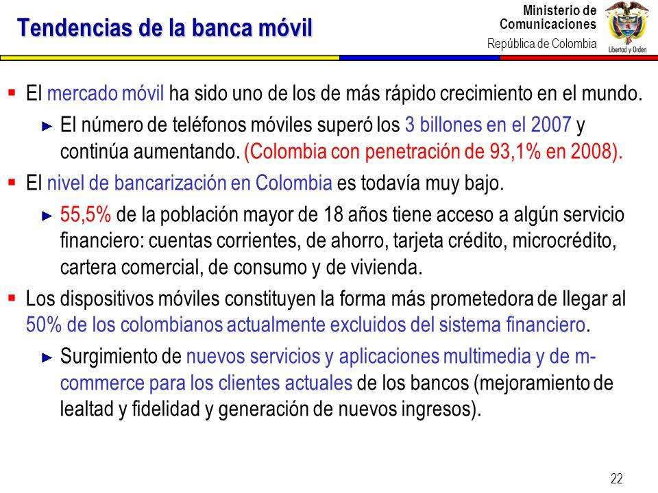 Ministerio de Comunicaciones República de Colombia 22 Tendencias de la banca móvil El mercado móvil ha sido uno de los de más rápido crecimiento en el