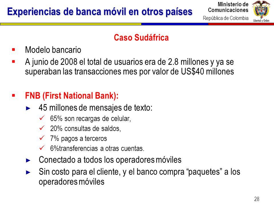 Ministerio de Comunicaciones República de Colombia 28 Experiencias de banca móvil en otros países Caso Sudáfrica Modelo bancario A junio de 2008 el to