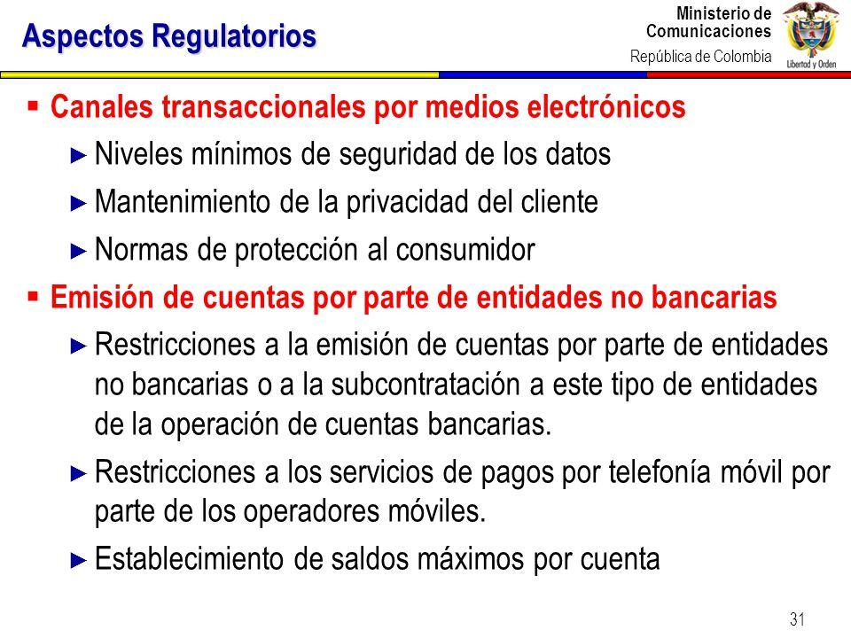 Ministerio de Comunicaciones República de Colombia 31 Canales transaccionales por medios electrónicos Niveles mínimos de seguridad de los datos Manten