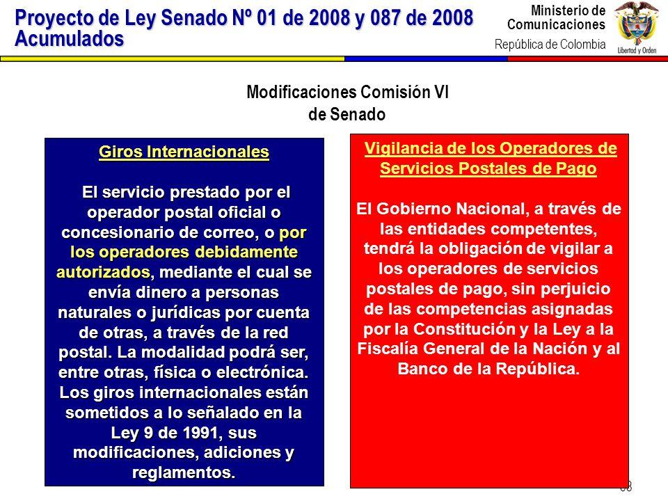 Ministerio de Comunicaciones República de Colombia 38 Vigilancia de los Operadores de Servicios Postales de Pago El Gobierno Nacional, a través de las