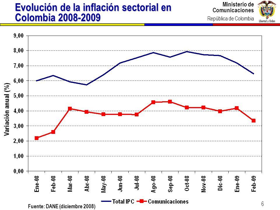 Ministerio de Comunicaciones República de Colombia 6 Evolución de la inflación sectorial en Colombia 2008-2009 Fuente: DANE (diciembre 2008) Variación