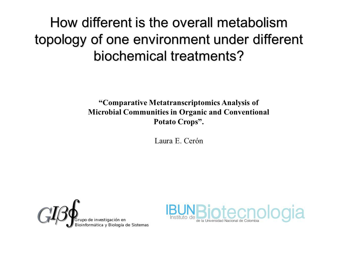How different is the overall metabolism topology of one environment under different biochemical treatments.
