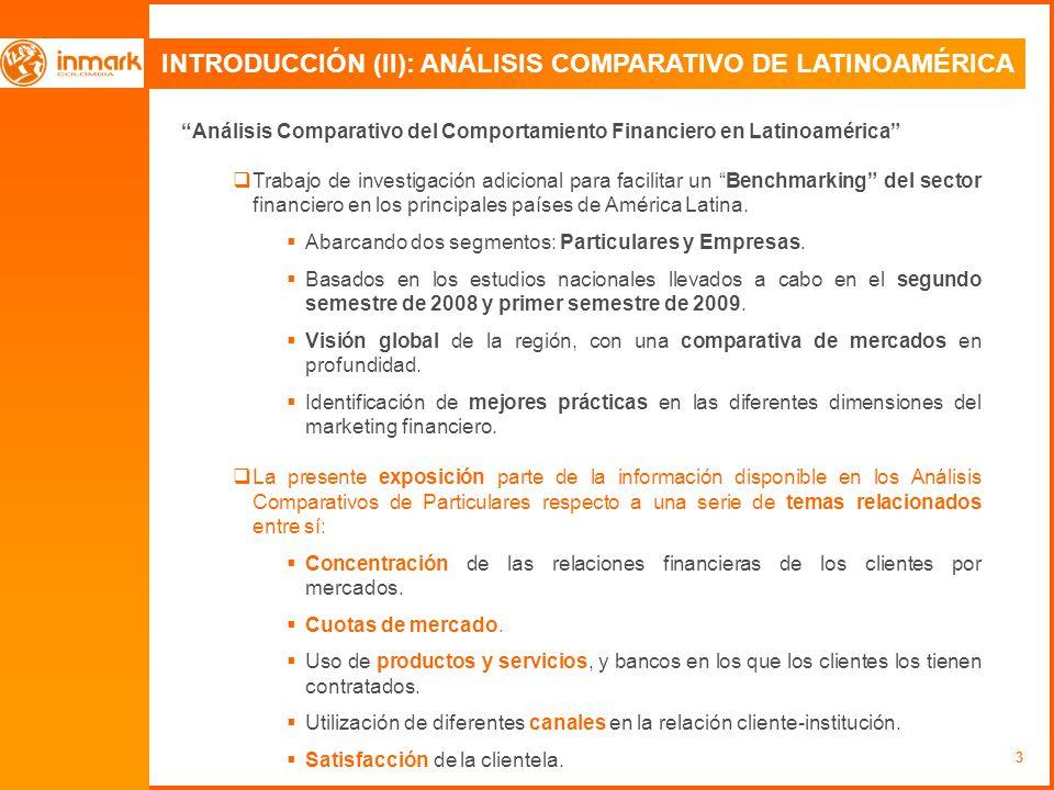 3 INTRODUCCIÓN (II): ANÁLISIS COMPARATIVO DE LATINOAMÉRICA Análisis Comparativo del Comportamiento Financiero en Latinoamérica Trabajo de investigación adicional para facilitar un Benchmarking del sector financiero en los principales países de América Latina.