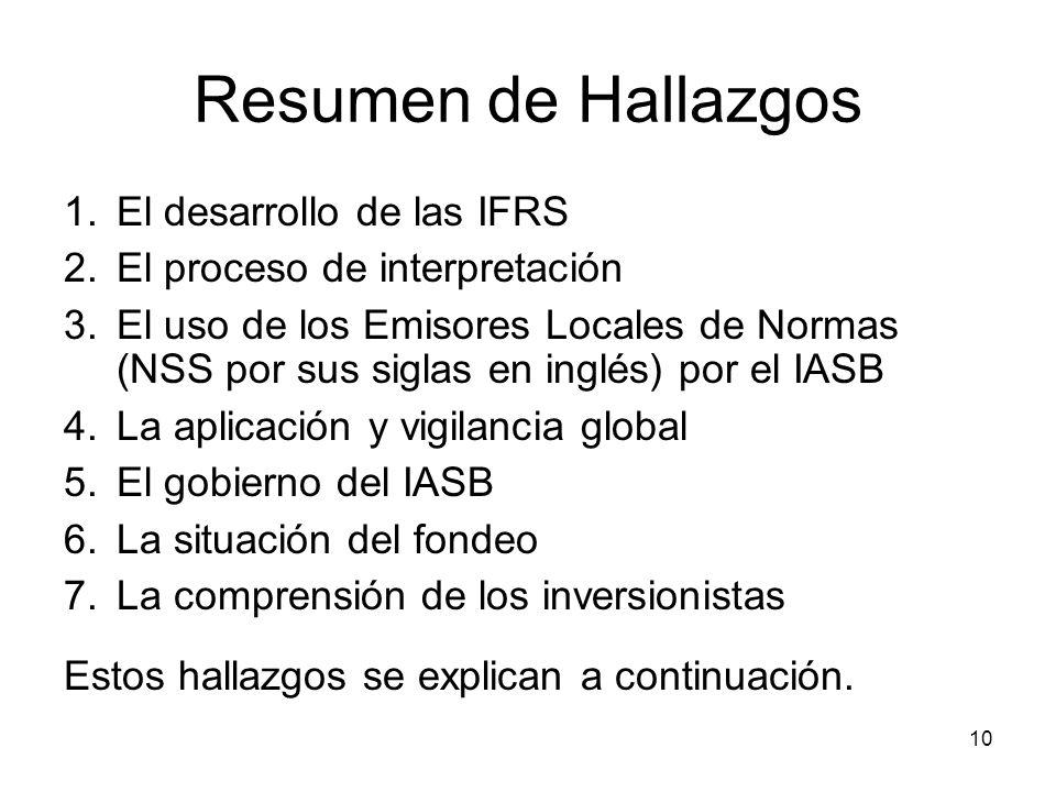 10 Resumen de Hallazgos 1.El desarrollo de las IFRS 2.El proceso de interpretación 3.El uso de los Emisores Locales de Normas (NSS por sus siglas en i