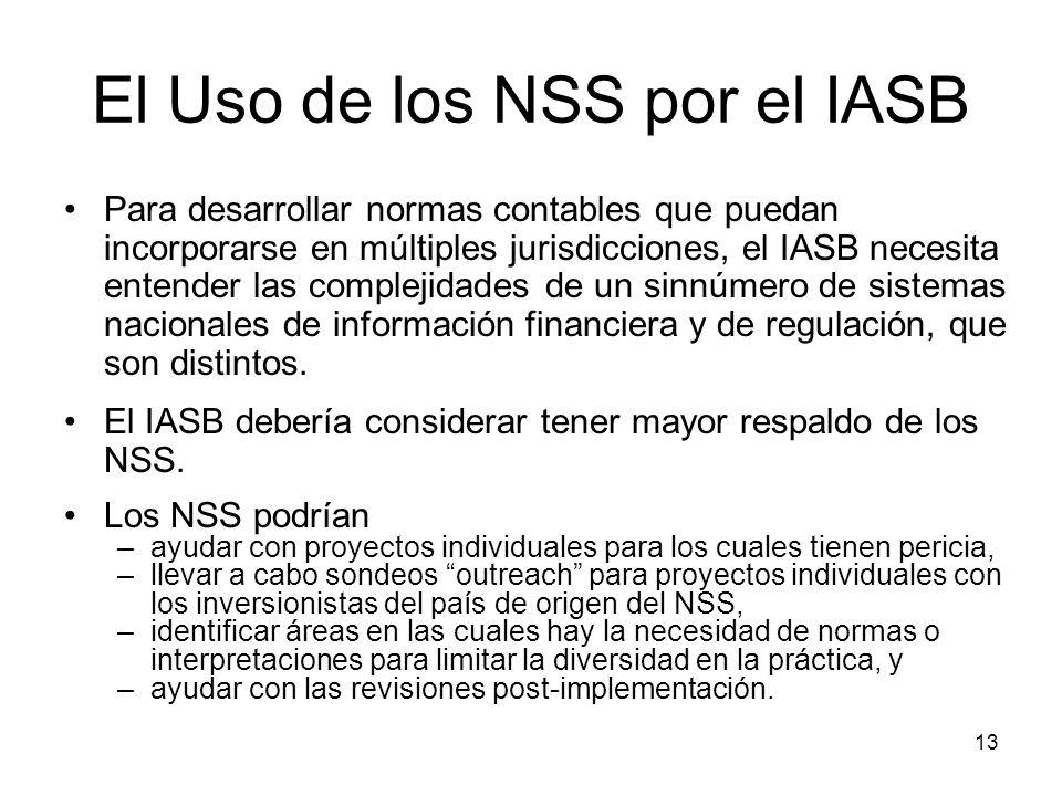 13 El Uso de los NSS por el IASB Para desarrollar normas contables que puedan incorporarse en múltiples jurisdicciones, el IASB necesita entender las
