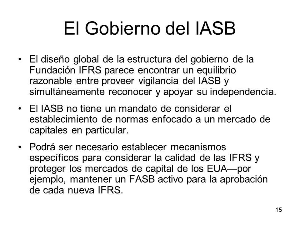 15 El Gobierno del IASB El diseño global de la estructura del gobierno de la Fundación IFRS parece encontrar un equilibrio razonable entre proveer vig