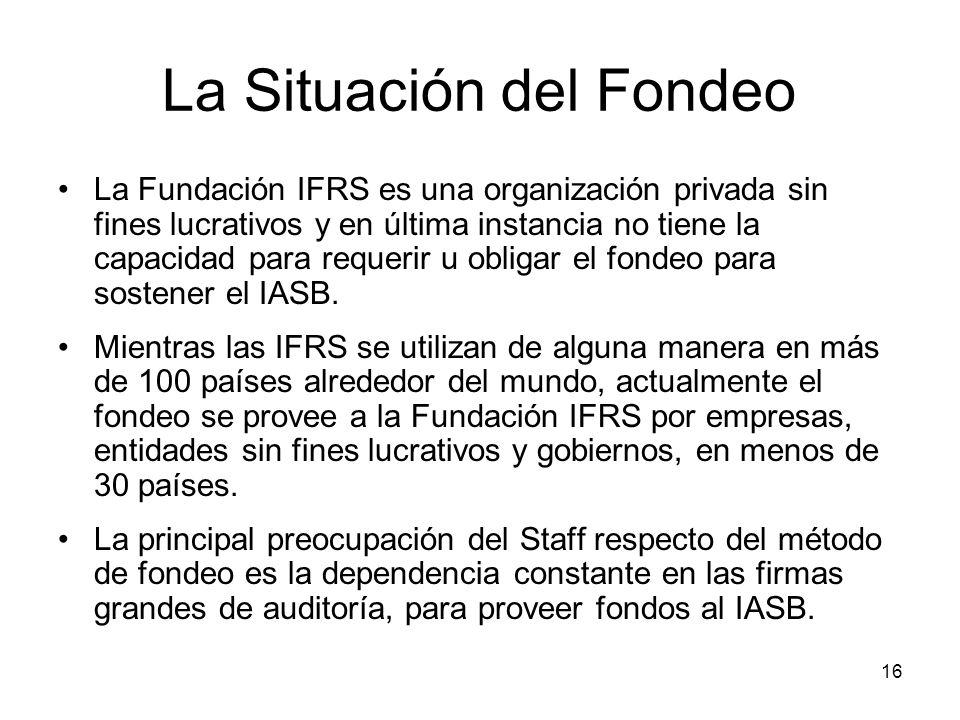 16 La Situación del Fondeo La Fundación IFRS es una organización privada sin fines lucrativos y en última instancia no tiene la capacidad para requeri