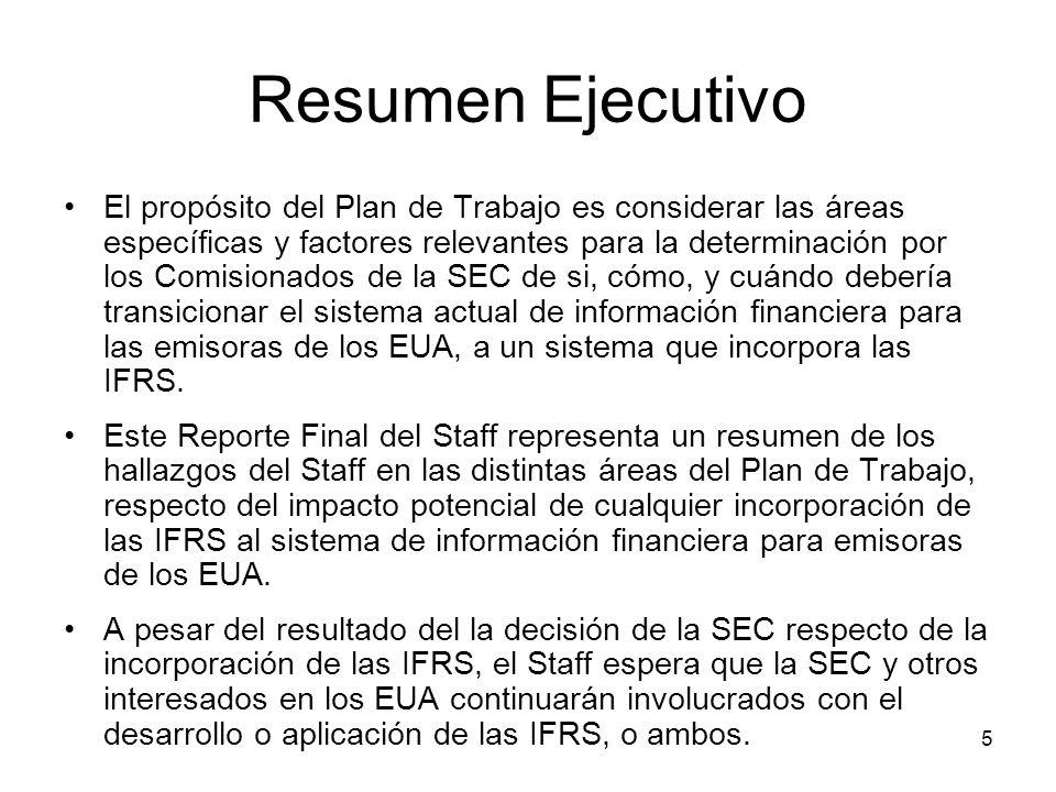5 Resumen Ejecutivo El propósito del Plan de Trabajo es considerar las áreas específicas y factores relevantes para la determinación por los Comisiona