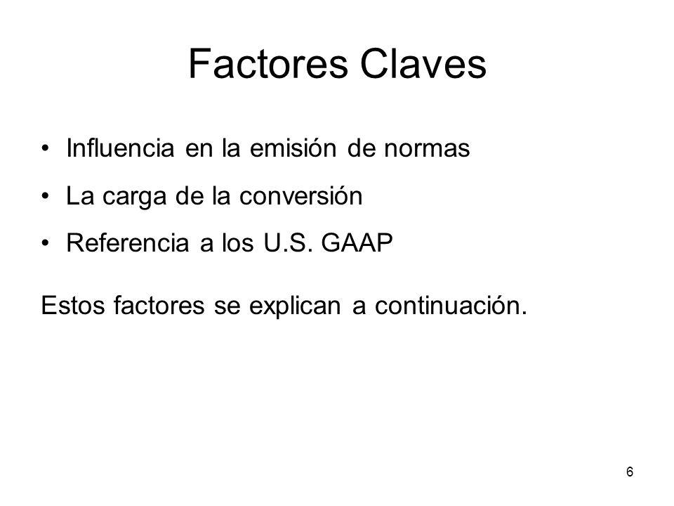 6 Factores Claves Influencia en la emisión de normas La carga de la conversión Referencia a los U.S. GAAP Estos factores se explican a continuación.