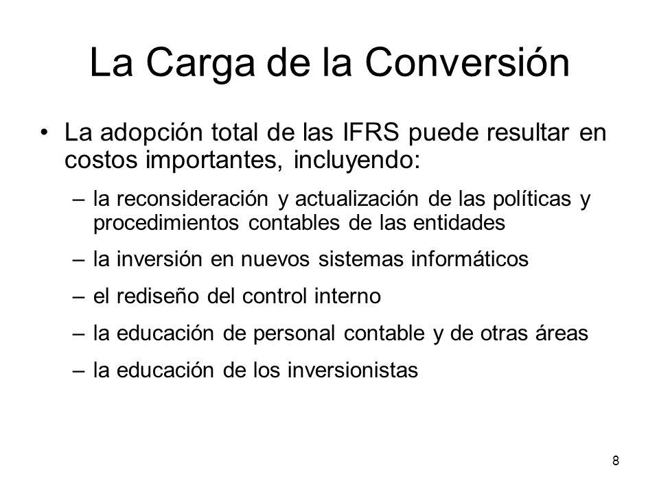 8 La Carga de la Conversión La adopción total de las IFRS puede resultar en costos importantes, incluyendo: –la reconsideración y actualización de las