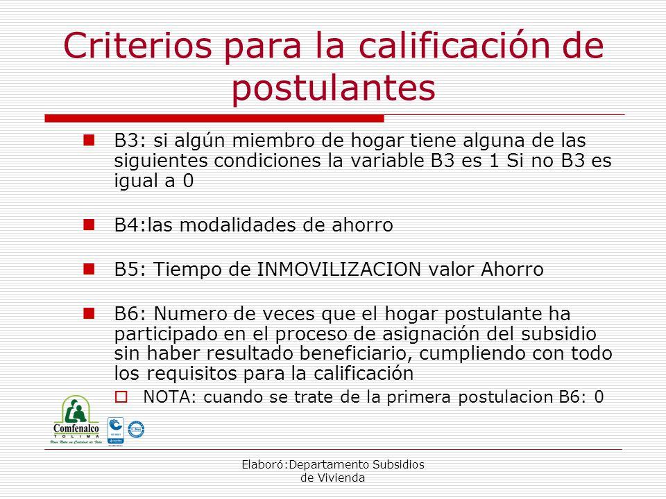 Elaboró:Departamento Subsidios de Vivienda B3: si algún miembro de hogar tiene alguna de las siguientes condiciones la variable B3 es 1 Si no B3 es igual a 0 B4:las modalidades de ahorro B5: Tiempo de INMOVILIZACION valor Ahorro B6: Numero de veces que el hogar postulante ha participado en el proceso de asignación del subsidio sin haber resultado beneficiario, cumpliendo con todo los requisitos para la calificación NOTA: cuando se trate de la primera postulacion B6: 0 Criterios para la calificación de postulantes
