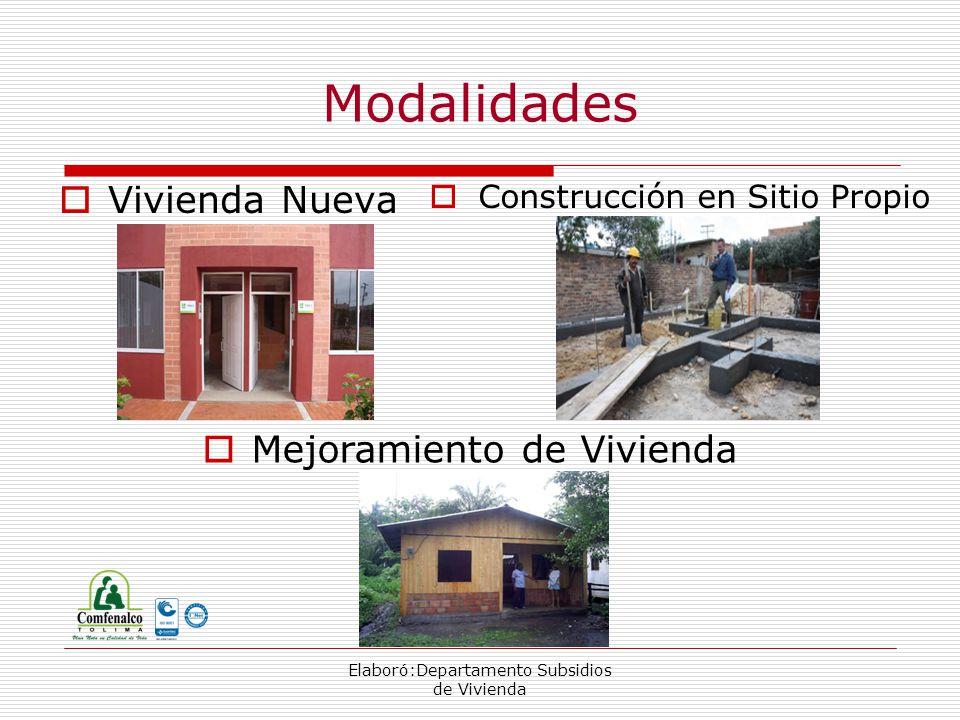 Elaboró:Departamento Subsidios de Vivienda Modalidades Vivienda Nueva Construcción en Sitio Propio Mejoramiento de Vivienda