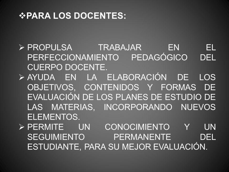 PARA LOS DOCENTES: PROPULSA TRABAJAR EN EL PERFECCIONAMIENTO PEDAGÓGICO DEL CUERPO DOCENTE. AYUDA EN LA ELABORACIÓN DE LOS OBJETIVOS, CONTENIDOS Y FOR