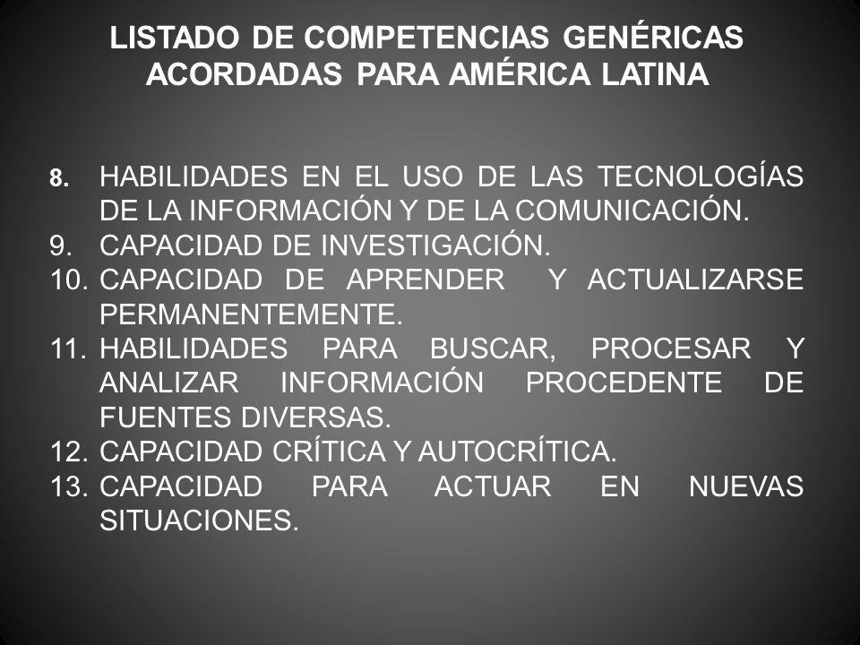 LISTADO DE COMPETENCIAS GENÉRICAS ACORDADAS PARA AMÉRICA LATINA 8. HABILIDADES EN EL USO DE LAS TECNOLOGÍAS DE LA INFORMACIÓN Y DE LA COMUNICACIÓN. 9.
