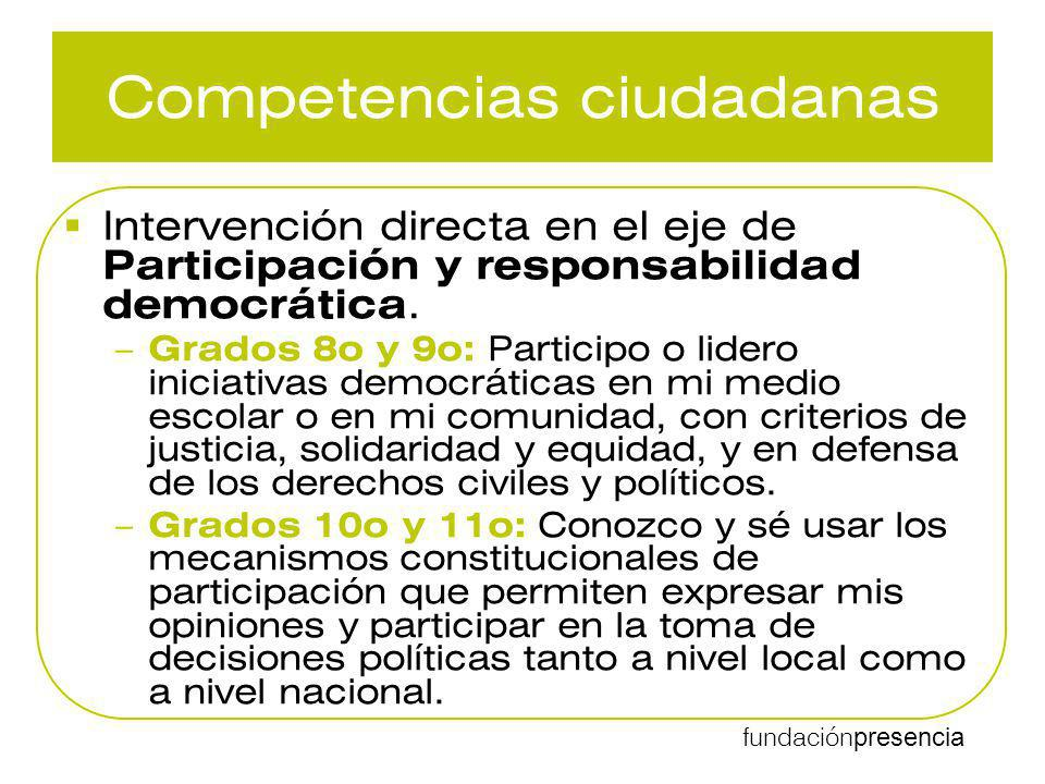 fundación presencia Competencias ciudadanas Intervención directa en el eje de Participación y responsabilidad democrática. – Grados 8o y 9o: Participo