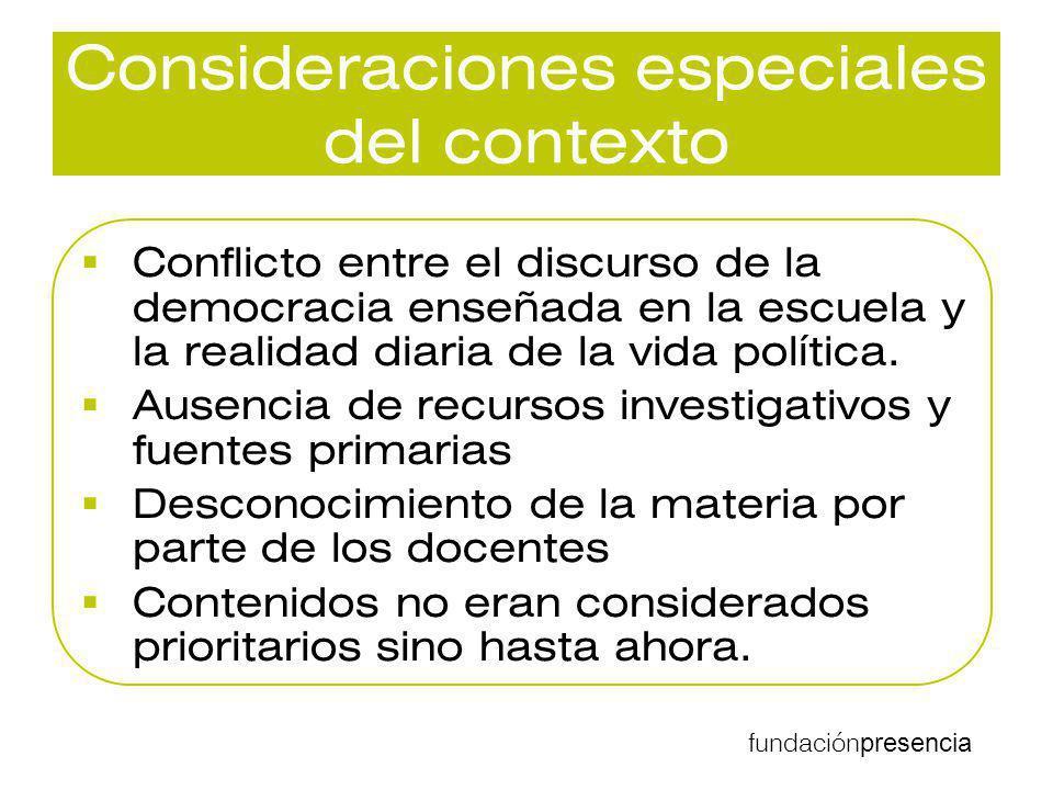 fundación presencia Consideraciones especiales del contexto Conflicto entre el discurso de la democracia enseñada en la escuela y la realidad diaria d