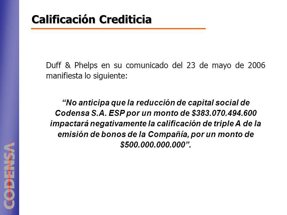 Duff & Phelps en su comunicado del 23 de mayo de 2006 manifiesta lo siguiente: No anticipa que la reducción de capital social de Codensa S.A. ESP por