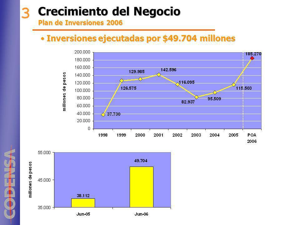 Crecimiento del Negocio Plan de Inversiones 2006 3 Inversiones ejecutadas por $49.704 millonesInversiones ejecutadas por $49.704 millones