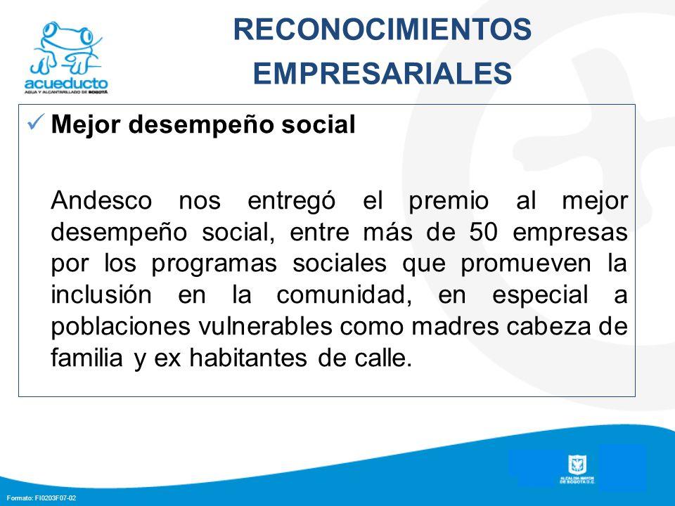 RECONOCIMIENTOS EMPRESARIALES Mejor desempeño social Andesco nos entregó el premio al mejor desempeño social, entre más de 50 empresas por los program
