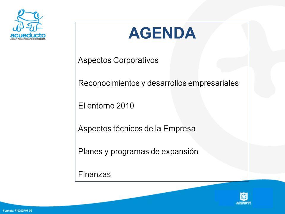 Formato: FI0203F07-02 AGENDA Aspectos Corporativos Reconocimientos y desarrollos empresariales El entorno 2010 Aspectos técnicos de la Empresa Planes y programas de expansión Finanzas