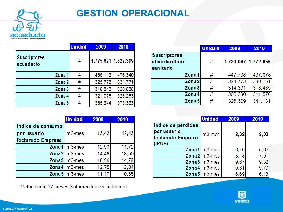 Formato: FI0203F07-02 GESTION OPERACIONAL Metodología 12 meses (volumen leído y facturado)