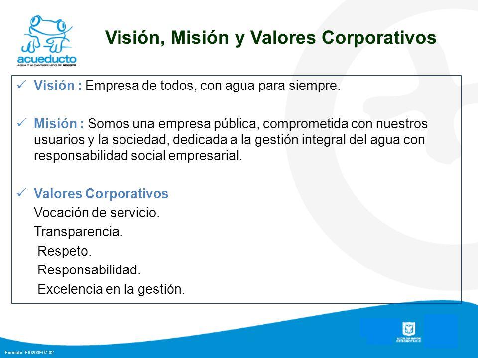 Formato: FI0203F07-02 Visión, Misión y Valores Corporativos Visión : Empresa de todos, con agua para siempre. Misión : Somos una empresa pública, comp