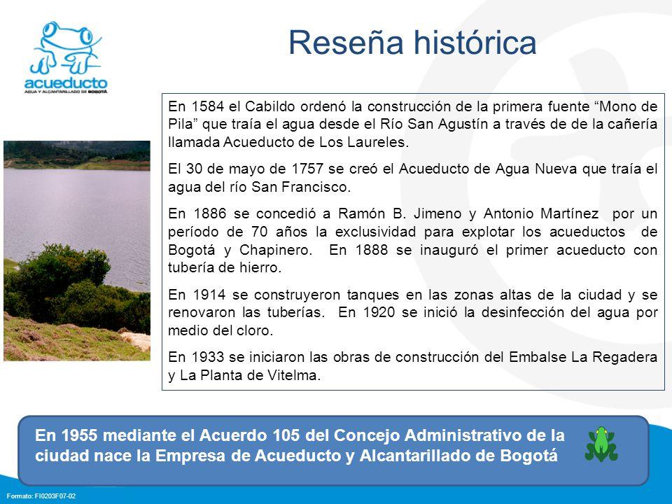 Formato: FI0203F07-02 En 1584 el Cabildo ordenó la construcción de la primera fuente Mono de Pila que traía el agua desde el Río San Agustín a través de de la cañería llamada Acueducto de Los Laureles.