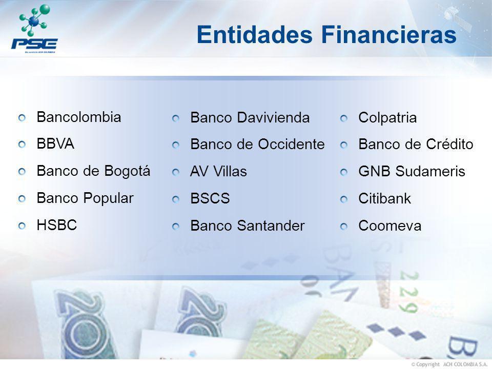 Entidades Financieras Bancolombia BBVA Banco de Bogotá Banco Popular HSBC Banco Davivienda Banco de Occidente AV Villas BSCS Banco Santander Colpatria