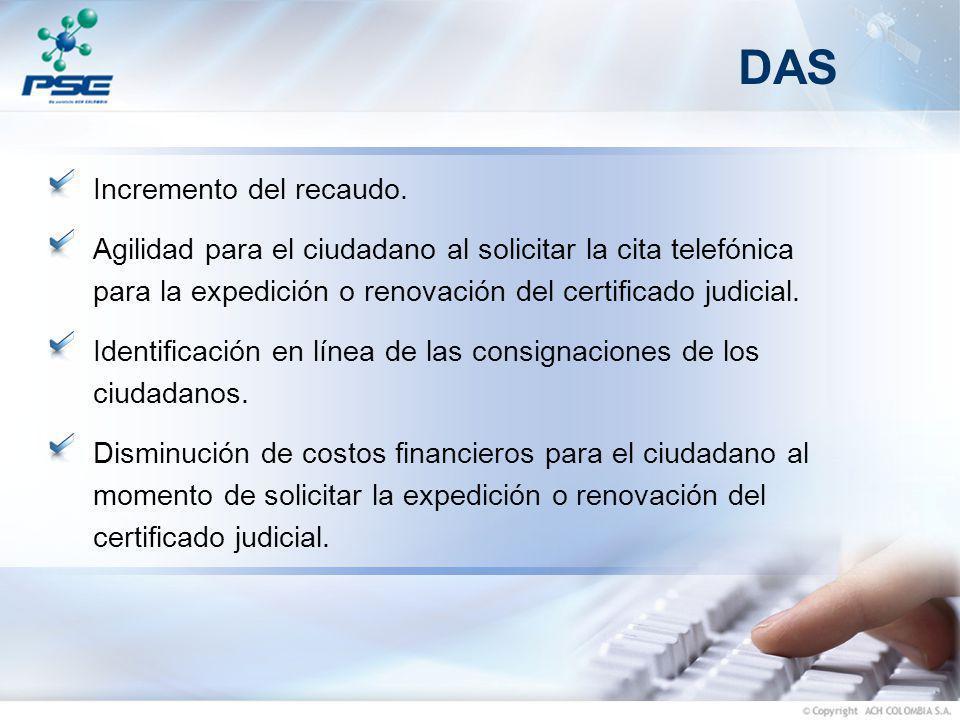 DAS Incremento del recaudo. Agilidad para el ciudadano al solicitar la cita telefónica para la expedición o renovación del certificado judicial. Ident