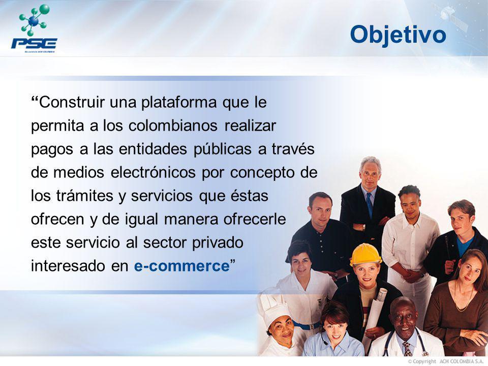 Objetivo Construir una plataforma que le permita a los colombianos realizar pagos a las entidades públicas a través de medios electrónicos por concept