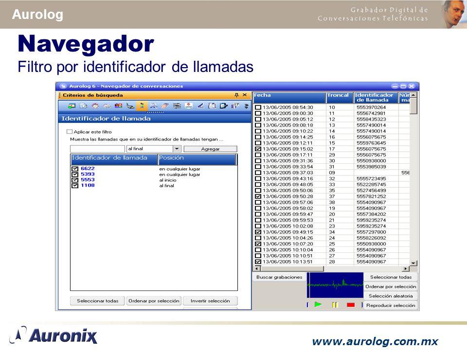 www.aurolog.com.mx Aurolog Filtro por identificador de llamadas Navegador