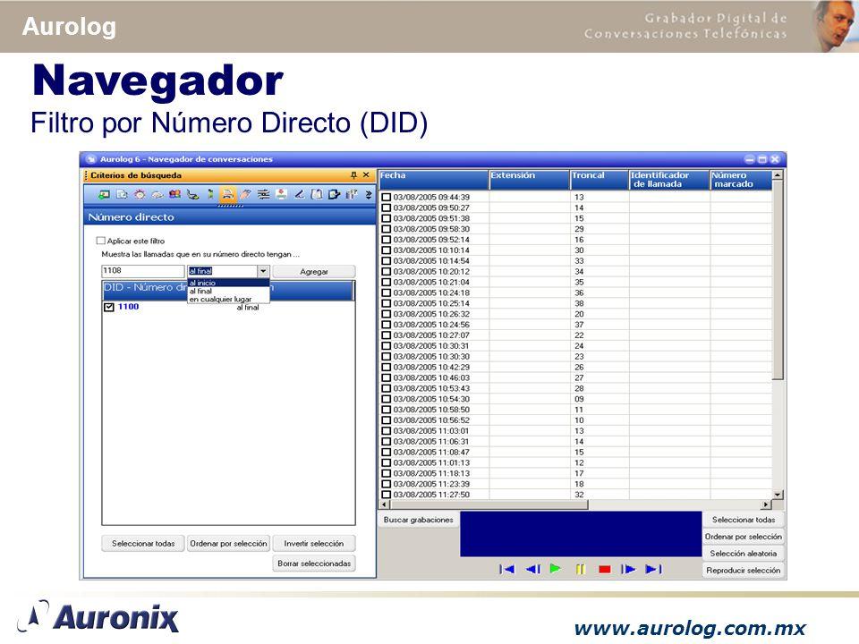 www.aurolog.com.mx Aurolog Filtro por Número Directo (DID) Navegador