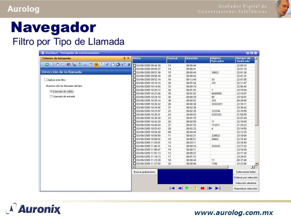 www.aurolog.com.mx Aurolog Filtro por Tipo de Llamada Navegador