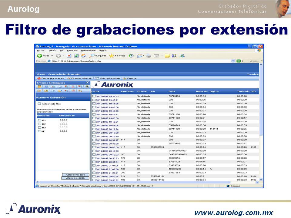 www.aurolog.com.mx Aurolog Filtro de grabaciones por extensión