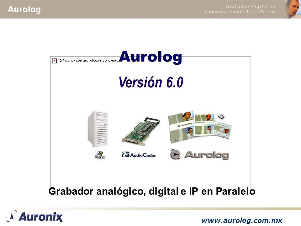 www.aurolog.com.mx Aurolog Versión 6.0 Grabador analógico, digital e IP en Paralelo