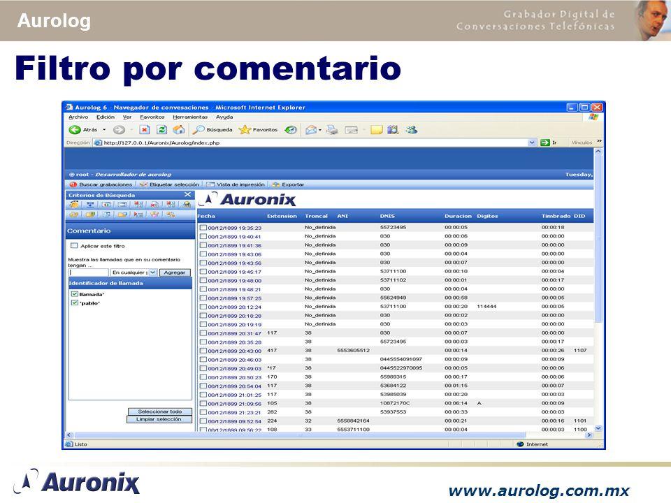 www.aurolog.com.mx Aurolog Filtro por comentario