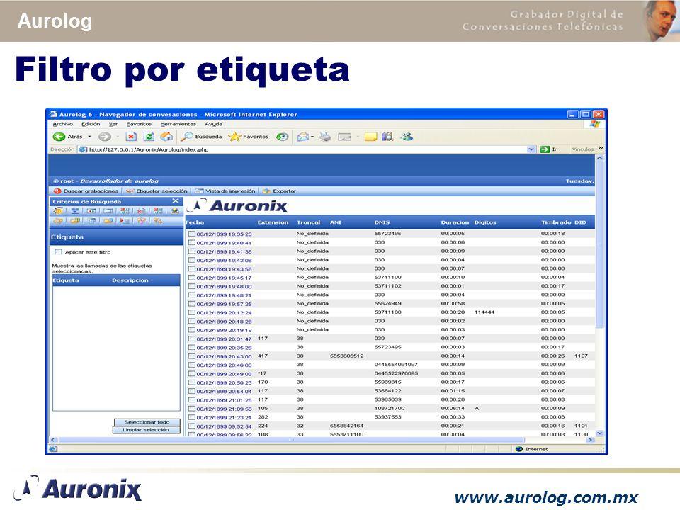 www.aurolog.com.mx Aurolog Filtro por etiqueta