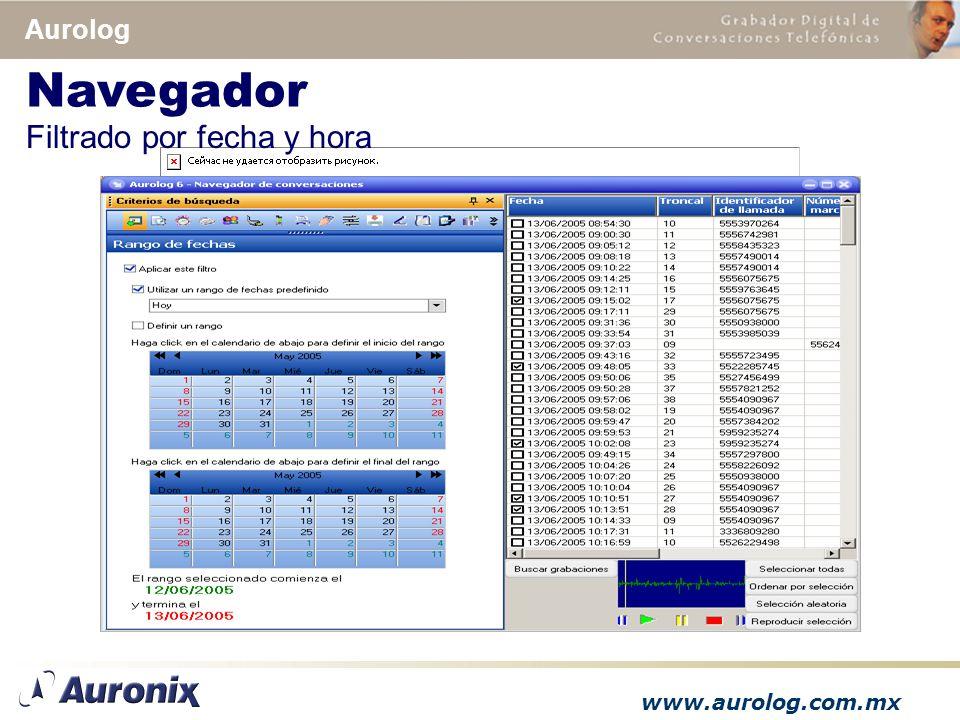 www.aurolog.com.mx Aurolog Filtrado por fecha y hora Navegador