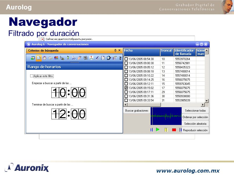 www.aurolog.com.mx Aurolog Filtrado por duración Navegador