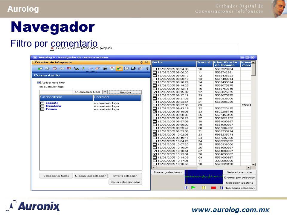 www.aurolog.com.mx Aurolog Filtro por comentario Navegador