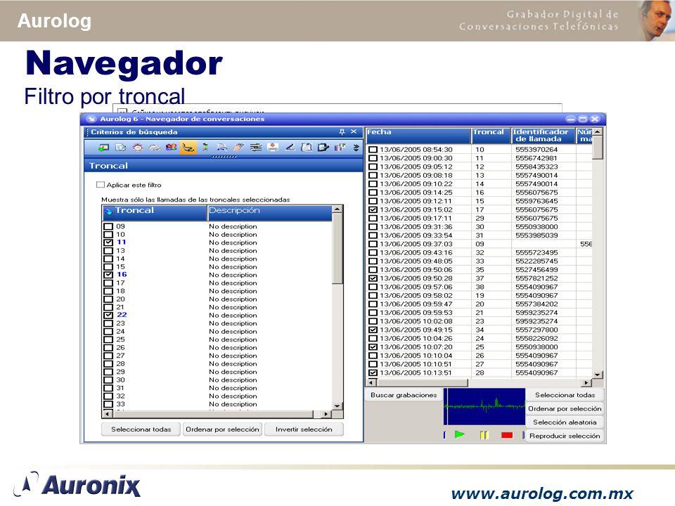www.aurolog.com.mx Aurolog Filtro por troncal Navegador
