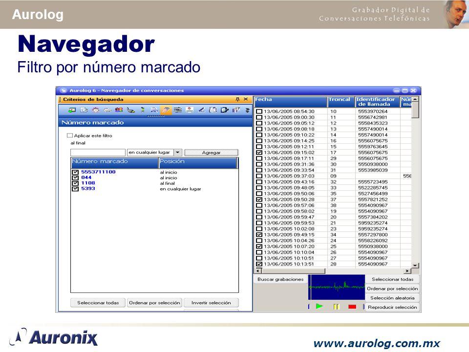 www.aurolog.com.mx Aurolog Filtro por número marcado Navegador