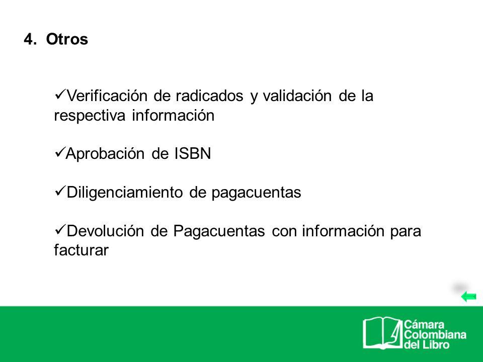 Verificación de radicados y validación de la respectiva información Aprobación de ISBN Diligenciamiento de pagacuentas Devolución de Pagacuentas con i