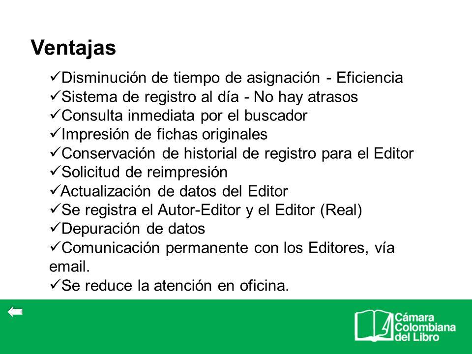 Disminución de tiempo de asignación - Eficiencia Sistema de registro al día - No hay atrasos Consulta inmediata por el buscador Impresión de fichas or