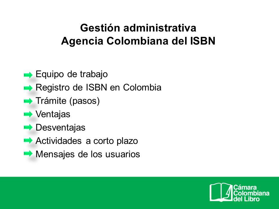 Agencia Colombiana del ISBN Equipo de trabajo Registro de ISBN en Colombia Trámite (pasos) Ventajas Desventajas Actividades a corto plazo Mensajes de