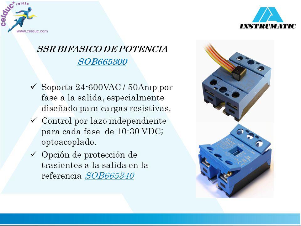 SSR BIFASICO DE POTENCIA SOB665300 Soporta 24-600VAC / 50Amp por fase a la salida, especialmente diseñado para cargas resistivas. Control por lazo ind