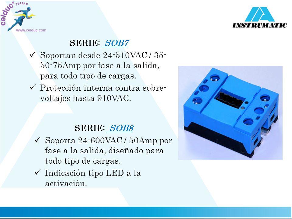 SERIE: SOB7 Soportan desde 24-510VAC / 35- 50-75Amp por fase a la salida, para todo tipo de cargas. Protección interna contra sobre- voltajes hasta 91